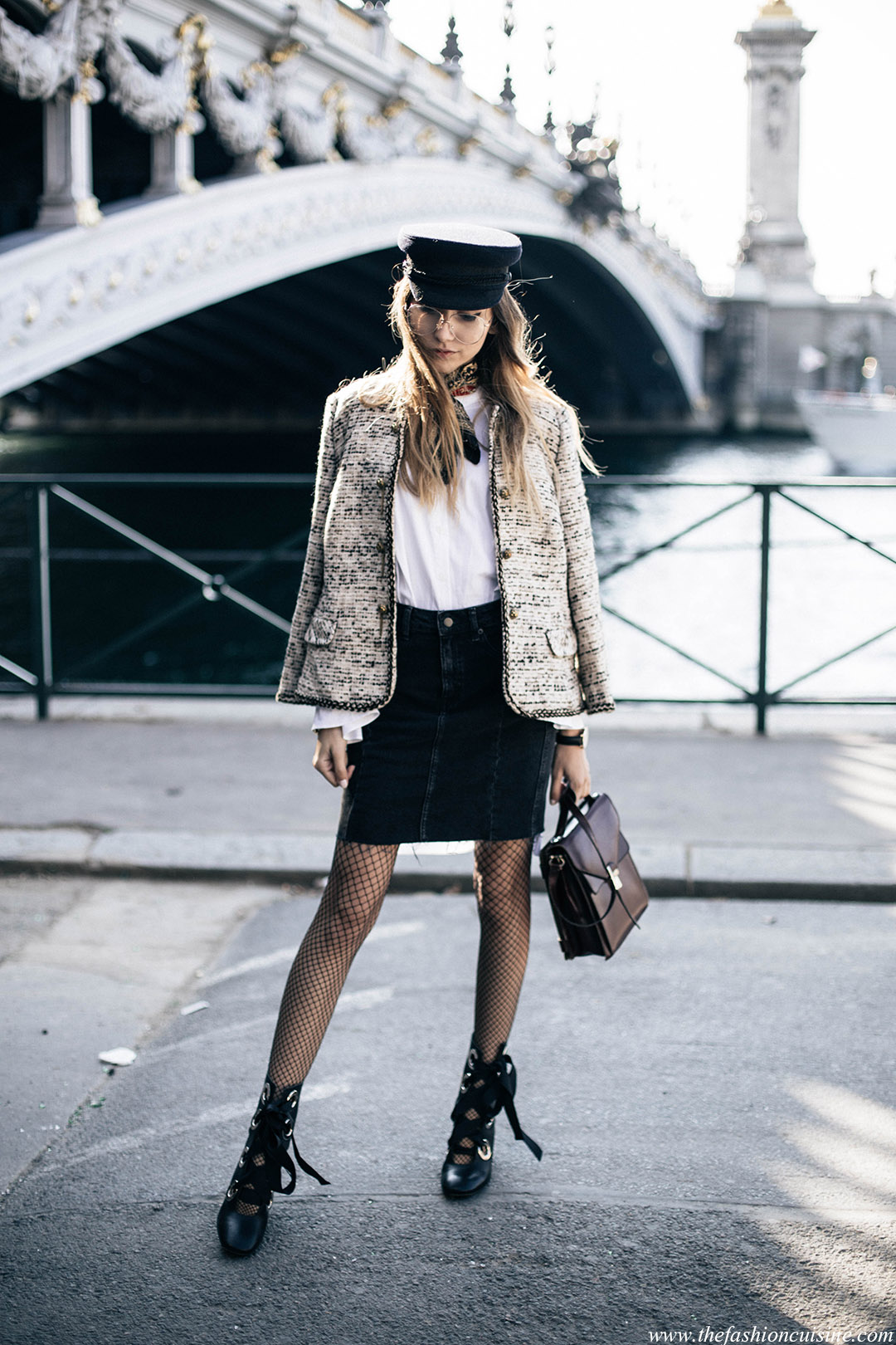 chanel-tweed-jacket-miista-lace-boots-fishnet-tights-sailor-cap-parisian-style-paris-fashion-week-pont-alexandre-fashion-blogger-street-style-1