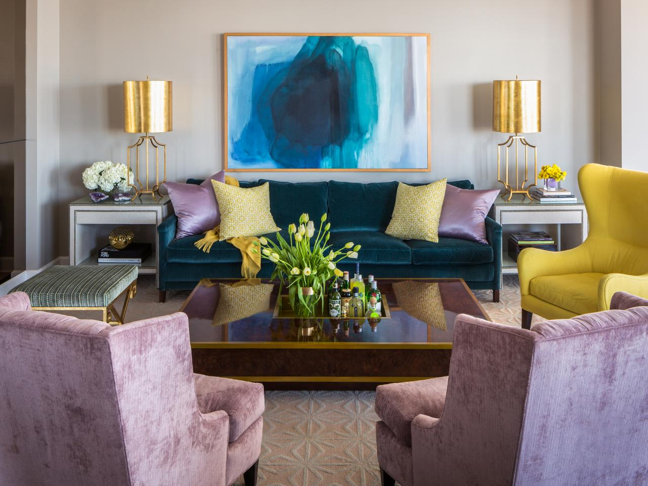 Elegant-Living-Room-Showing-Lilac-and-Yellow-Decoration-with-Blue-Accent
