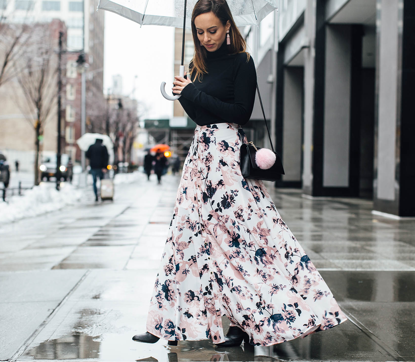 Sydne-Style-wears-Yumi-Kim-floral-print-maxi-skirt-with-black-turtleneck-for-fashion-week-street-style