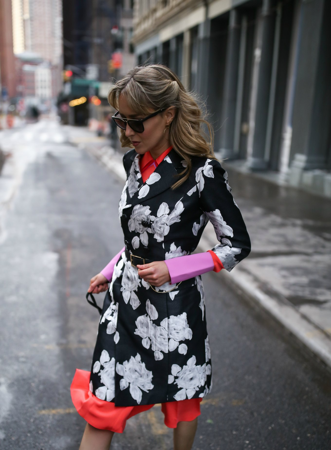 coral-pink-roksanda-silk-collared-midi-dress-jacquard-black-white-floral-coat-belted-nyfw-fashion-week-street-style-blogger9