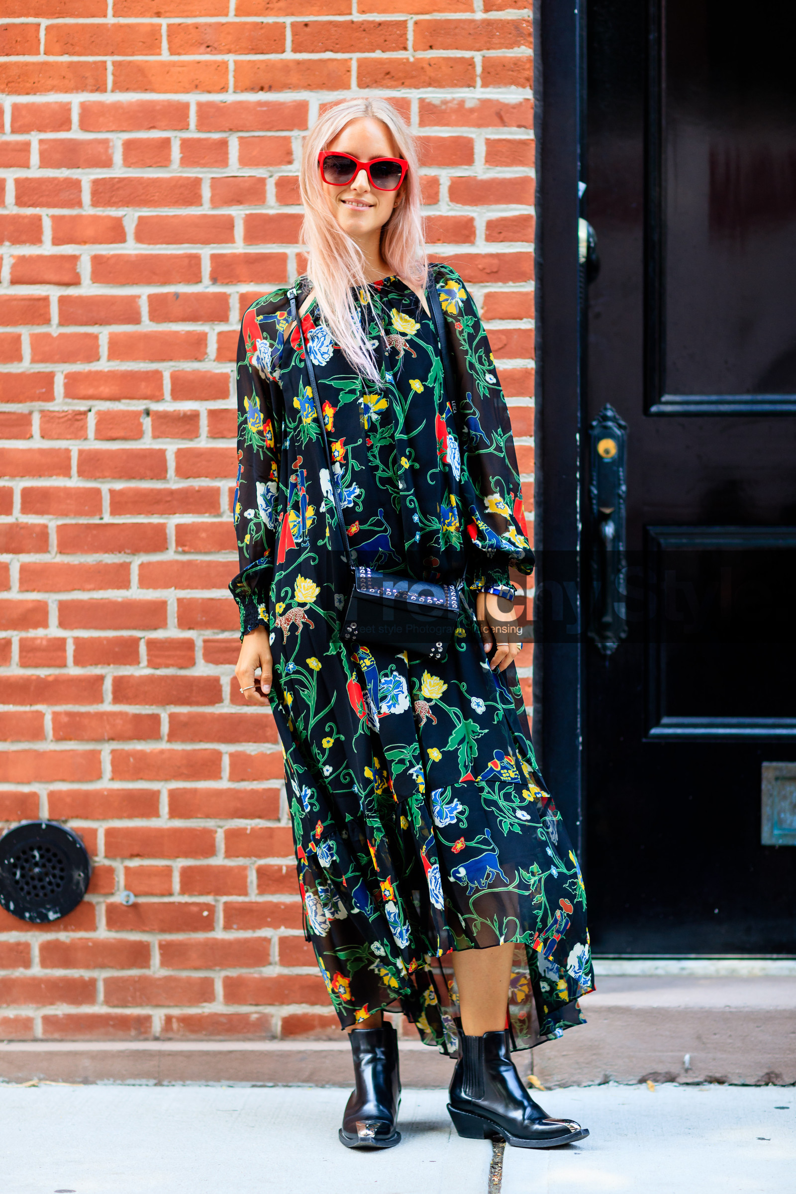 black bag, black boots, black dress, Charlotte Groeneveld, fashion week, flare jean, floral, flower, frenchystyle, full length, FW, jonathan paciullo, leather bag, leather boots, long dress, NEW YORK, NYFW, prada, printed dress, SPRING SUMMER 2017, SS 17, street style, studded bag, sunglasses, vertical, woman