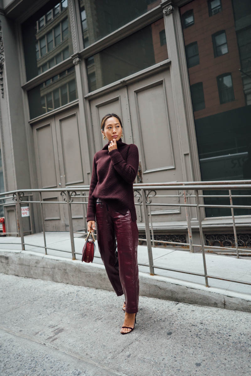 Aimee_song_of_style_nyc_red_sweater_pantent_leather_pants_jimmy_choo_velvet_heels