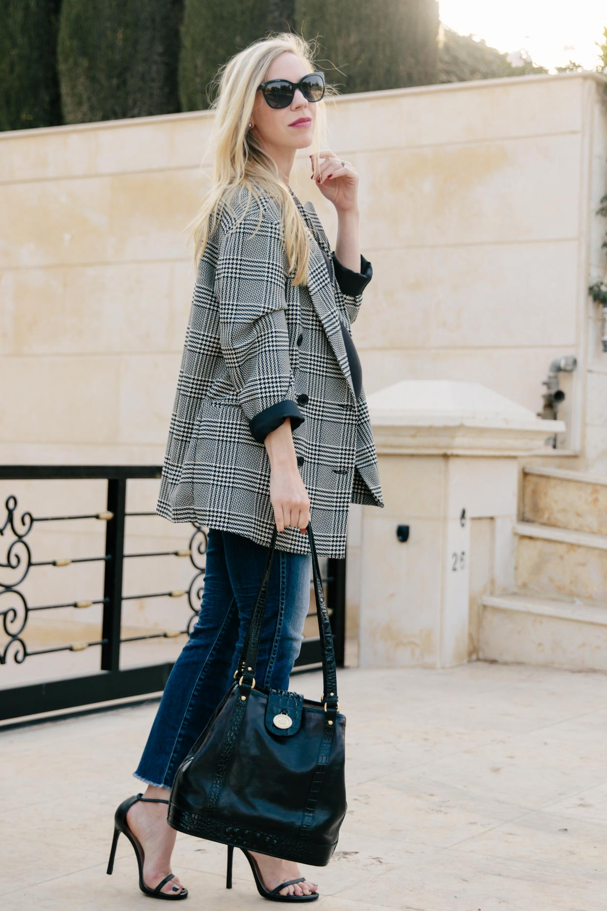 Meagan-Brandon-fashion-blogger-of-Meagans-Moda-wears-Zara-oversized-plaid-blazer-with-straight-leg-jeans-for-fall-how-to-wear-a-plaid-blazer-maternity-style