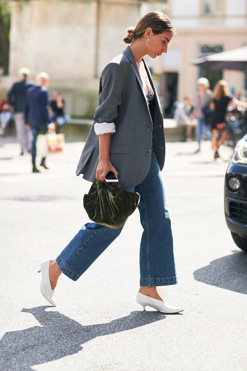 check-blazer-outfits-cropped-jeans-white-heels-irina-lakicevic