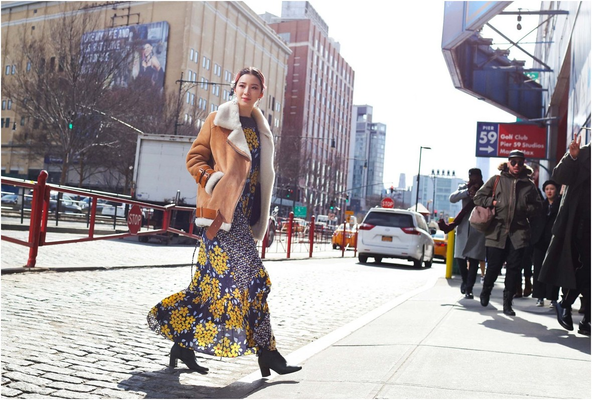 navy-yellow-floralmaxi-dress-black-booties-beige-suade-fur-jacket-NYFW-streetstyle