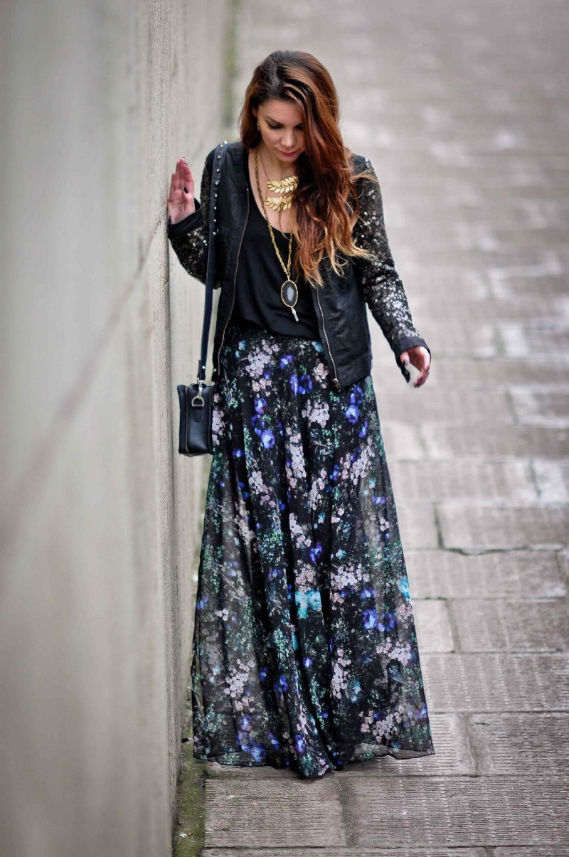 simona-mar-street-style-blogger-handmade-jewellery-topshop-floral-split-maxi-skirt-selected-femme-joda-sequin-leather-jacket-urban-outfitters-box-bag-zara-top-ombre-messy-hair