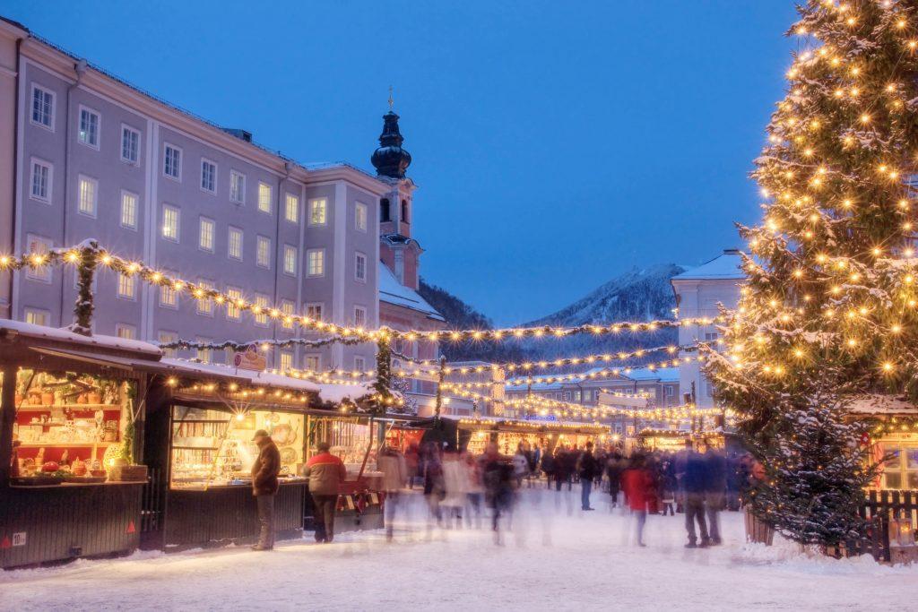 """The famous """"Weihnachtsmarkt"""" (Christmas Market) in Salzburg Austria."""