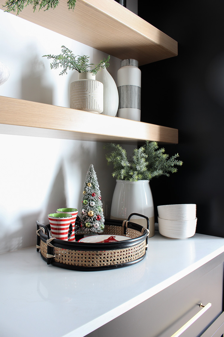 christmas-decorations-butlers-pantry-floating-white-oak-shelves-black-cabinets-2