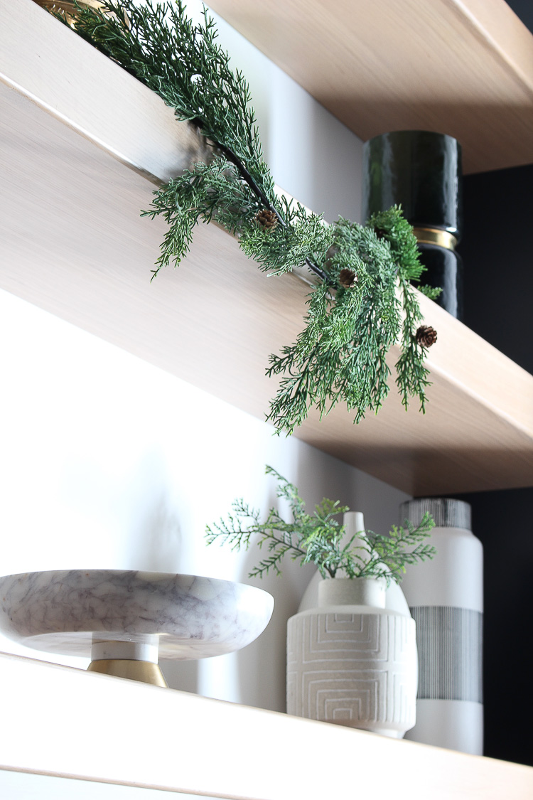 christmas-decorations-butlers-pantry-floating-white-oak-shelves-black-cabinets-4