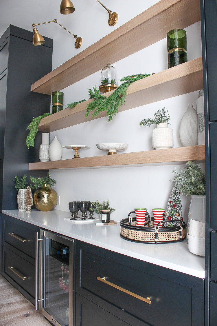 christmas-decorations-butlers-pantry-floating-white-oak-shelves-black-cabinets