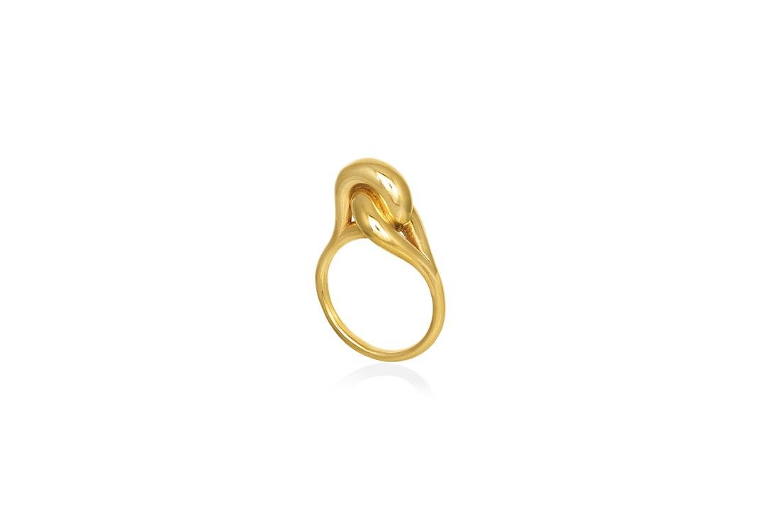 Christina Soubli_Gold plated 925 silver charm 21 knot ring CHr 21 (2)